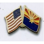Photo Etched Dual Country/ State Flag Pin (USA/ Arizona)