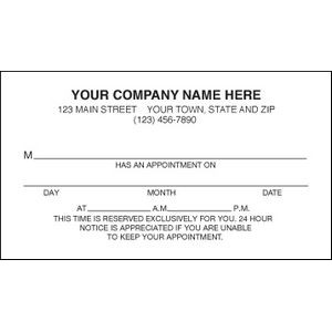 One-Sided Appointment Business Card