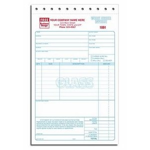 Glass Repair Work Order Invoice (4 Part)