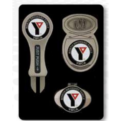 Series III Gift Set - GreenFix 3 Divot Tool/ Icon Money Clip/ Icon Hat Clip