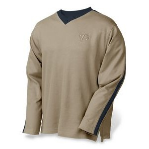 Men's V-Neck Flatback Pullover w/Long Sleeves
