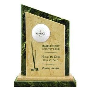 Jade Leaf Green/Botticino Beige Marble Hole in One View Point Golf Award