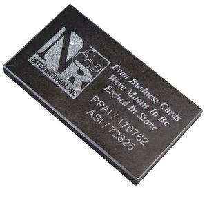 "Jet Black Marble Business Card Base (3 1/2""x1/4""x2"")"