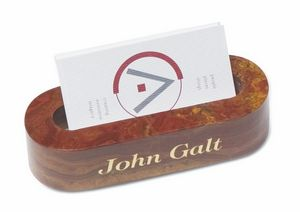 Oval Marble Business Card Holder (Swirl Amber Onyx Brown)