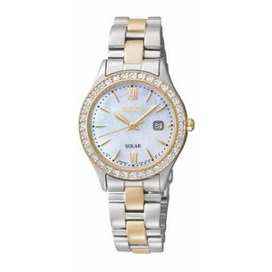 Seiko Ladies Solar Powered 2-Tone Bracelet Watch w/Crystal Encrusted Bezel