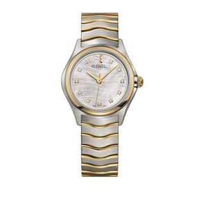 Ebel Classic Wave Ladies Stainless Steel Watch w/Wave Pattern White Mother of Pearl Dial