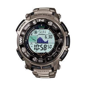 Casio Pro Trek Solar Powered Triple Sensor Watch w/Titanium Band
