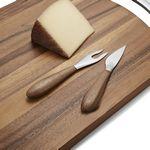 Custom Nambé Curvo Cheese Set W/ Cheese Knife & Fork