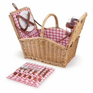 Piccadilly Double Lid Picnic Basket w/Service for Two