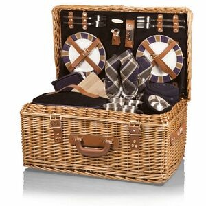 Windsor Luxury Picnic Basket w/Deluxe Service for Four
