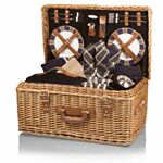 Custom Windsor Luxury Picnic Basket w/ Deluxe Service for Four