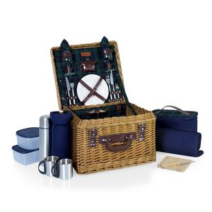 Canterbury Luxury Picnic Basket w/ Deluxe Service for Two