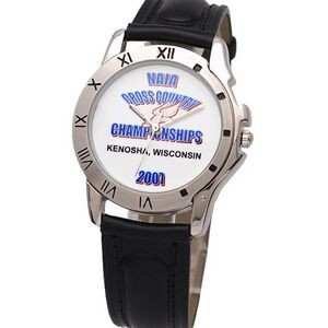 Watch designed with chrome bezel decorated with Roman numerals, genuine leather band, Japan movement
