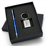 Custom Beautiful Gift Set with Quality Short Rectangle Metal Keychain & Aluminum Pen