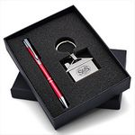 Custom Lovely Gift Set with Polished House Shaped Keychain & Aluminum Pen makes a perfect gift