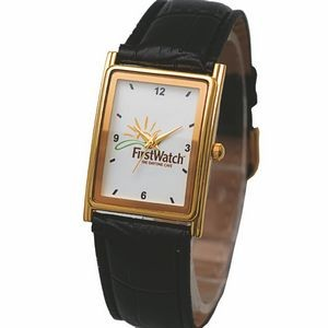 Unisex Watch with polished gold metal case, Japanese quartz movement & designer leatherette bands.