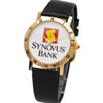 Custom Elite Dress Watch with gold bezel decorated with Roman numerals, genuine leather band,Japan movement