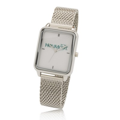 Big Dial Rectangle Watch with Stainless Steel Mesh Bracelet, Japan quartz movement.