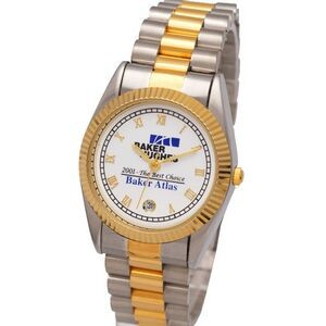 Designer Calendar Watch with Stainless Steel Bracelet Band, Gold Roman Indexes, Japan movement