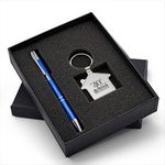 Custom Beautiful Gift Set with Quality Metal House Shaped Keychain & Aluminum Pen makes an ideal gift