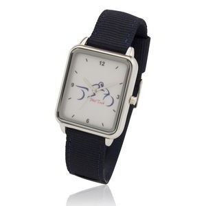 Big Dial Silver Rectangle Watch with Fashion Nylon & Leather Straps, Japan quartz movement.