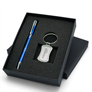 Lovely Gift Set with Polished Hourglass Shaped Keychain & Aluminum Pen