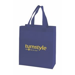 "Black Economy Sonic Weld Non-Woven Tote Bag w/Bottom & Side Gussets (10""x4 1/4""x11"")"
