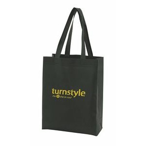 "White Economy Sonic Weld Non-Woven Tote Bag w/Bottom & Side Gussets (11 1/2""x3 1/2""x13"")"