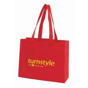 "Red Economy Sonic Weld Non-Woven Tote Bag w/Bottom & Side Gussets (11 3/4""x4""x9 1/2"")"