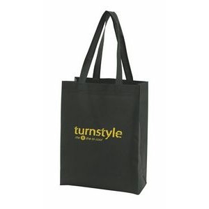 "Black Economy Sonic Weld Non-Woven Tote Bag w/Bottom & Side Gussets (11 1/2""x3 1/2""x13"")"