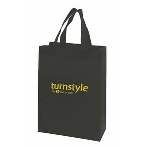 "Black Economy Sonic Weld Non-Woven Tote Bag w/Bottom & Side Gussets (10""x4 1/2""x13"")"