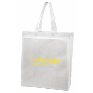 "White Economy Sonic Weld Non-Woven Tote Bag w/Bottom & Side Gussets (10""x4 1/2""x13"")"
