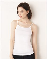 Bella + Canvas Womens 1x1 Baby Rib Spaghetti Strap Tank Top (S-XL)