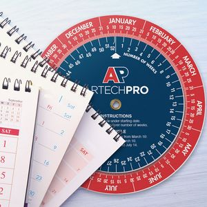 .020 White Plastic Date Finder Wheel Calculator (4.25 dia.), Full Color