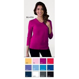 Ladies 3/4 Sleeve V-Neck Knit Tee Shirt