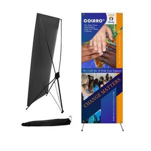 Econo, Cost Effective Advertising Banner with Graphics, X-Stand and Bag, 23x64, Easy to setup