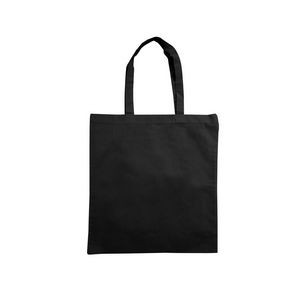 "Cotton Flat Tote, 15x16, 18"" Handles, 5oz, Black Color, Reinforced stitching, Blank Only"