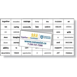 Magnetic Word Set (41 pieces), Screen-printed, White Matte Vinyl Topcoat