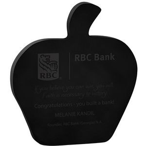 "Black Apple Acrylic Paper Weight (4 1/8""x 4 5/8""x 3/8"") Screen Printed"