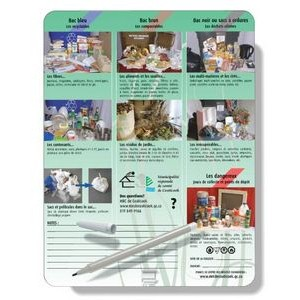 Magnetic Memo Board Kits, Laminated Card Stock, Full Colour with Pen & Clip