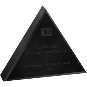 "Black Triangle Acrylic Paperweight (4""x 4""x 3/4"") (Laser Engraved)"