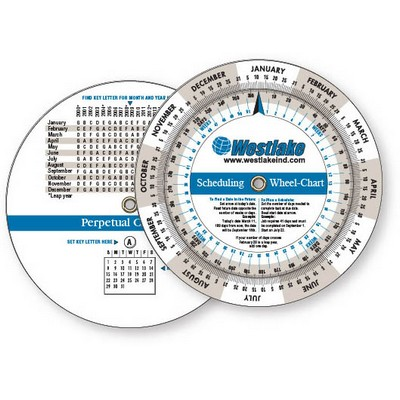 .020 White Plastic Wheel Calculator Perpetual Calendar & Scheduling (4.25