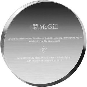 "Clear Circle Acrylic Paper Weight (4"" dia. x 3/4"") (Lazer Engraved)"
