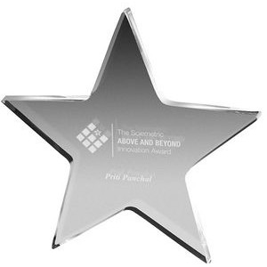 "Clear Star Paper Weight (5""x 5""x 3/8"") (Screen Printed)"