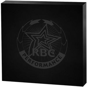 "Black Square Acrylic Paper Weight (4""x 4""x 3/4"") Laser Engraved"