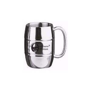 16 Oz. Double Wall Stainless Steel Barrel Beer Mug w/ C Handle