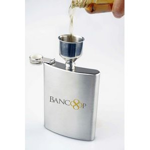 2Pc, Stainless Steel 8oz Hip Flask / Funnel Set