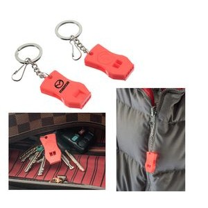 2 Pc Plastic Raptor Whistle with Key Chain and Zipper Ring