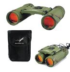 Custom 8x21mm Binocular, Ruby Coated Lenses, K9 Roof Prism, Camouflage, with Carrying Case, Lanyard