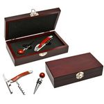 Custom Wood Wine Opener and Stopper Set in a Red Wood Box